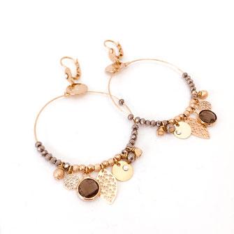 boucles d'oreilles earring gwapita bijoux français france createur fin doré plaqué or perles  Sasha gris