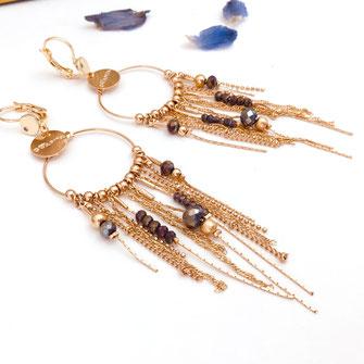 gwapita boucles d'oreilles Gisèle earrings longues chaines fine doré or