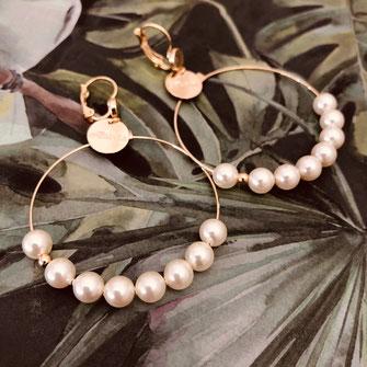 gwapita boucles d'oreilles bijoux création doré  anita nacrée perles d'eau douce blanc