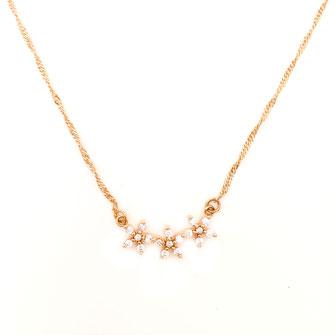 collier choker necklace gwapita bijoux français france createur fin doré plaqué or leurs flowers  jewelry