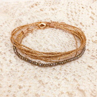 gwapita bijoux bracelet doré perles reflets perles kaki  fin createur français or chaine fine