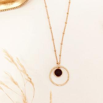 Collier gwapita anneau rond noir lola bijoux