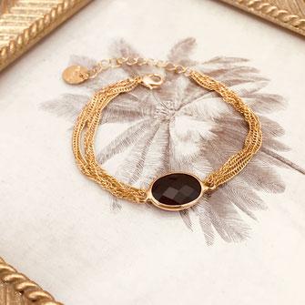 jonc bracelet gwapita fin doré vintage zirconium pierre blanche jewelry noir pierre
