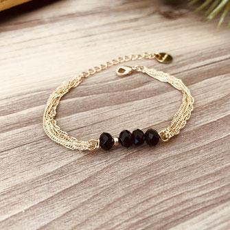 bracelet doré plaqué or fin Gwapita bijoux créatrice française france marron perles fin noir chaines