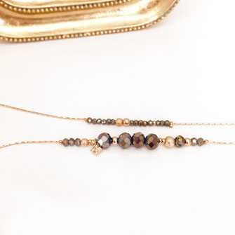 gwapita bracelet kaki perles double Marius chaine fine