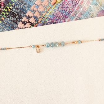 bracelet gwapita fin bijoux France creation finesse perles doré plaqué or caraïbe Paula bleu turquoise