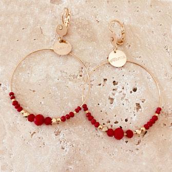 gwapita chloé rouge creole double doré perles femme fine essentielle iconiques