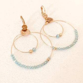 Olivia boucles d'oreilles creoles anneaux turquoise bleu creation  bijoux earrins