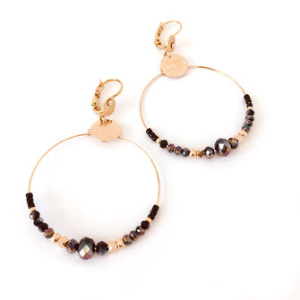 boucles d'oreilles Monica dentelle feuille coeur doré fin création créateur femme bijoux gwapita perles france noir