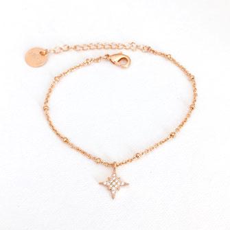 bracelet etoile gwapita bijoux femme fin doré zirconium diamants