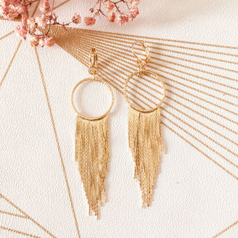 boucles d'oreilles doré gwapita bijoux best-seller longue fine chaine perles longue chaine fine