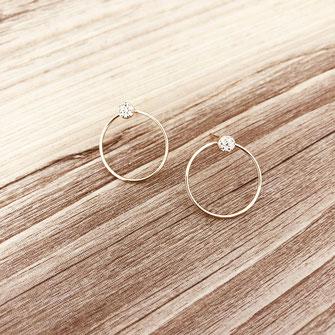 bijoux boucles d'oreilles anneaux créoles zirconium  rondes  fine doré gwapita