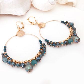 frous frous froufrou océan bleu boucles d'oreilles gwapita grande anneau perles