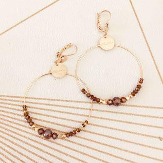 bijoux capita boucles d'oreilles créoles créoles rouge bordeaux perles doré plaqué or ronde grosse
