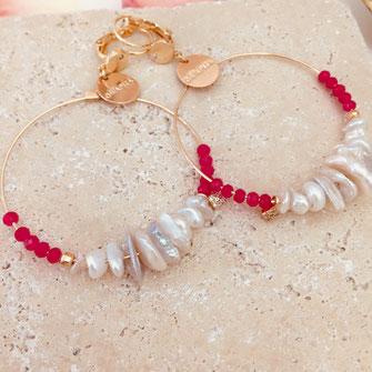gwapita boucles d'oreilles bijoux création doré bali rose fushia