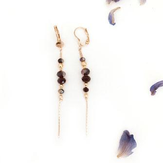 boucles d'oreilles gwapita doré plaqué or creatrice fine longue perles noir Annabelle