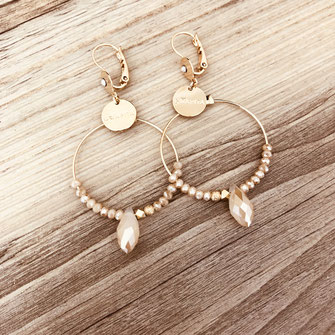 boucles d'oreilles gwapita petit Katia blanc zirconium pierres blanche bijoux or plaqué doré nude goutte perles