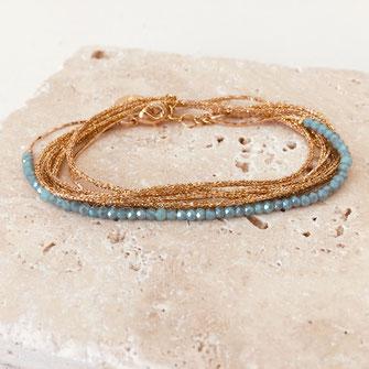 bracelet gwapita fin bijoux France creation finesse perles doré LEO plaqué or  caraïbe bleu turquoise seychelles
