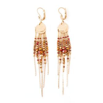 boucles d'oreilles longues gwapita rose bronze perles multi doré plaqué