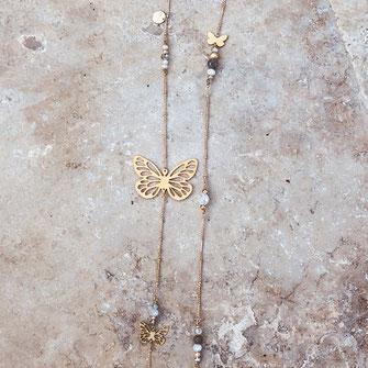 collier doré gwapita wapita bijoux createur creatrice instagram  necklace jewelry plaqué or fin papillon sautoir