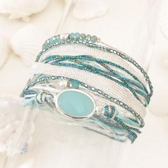 bracelet gwapita bijoux bleu turquoise blanc liens multirangs double tour manchette  argent argenté