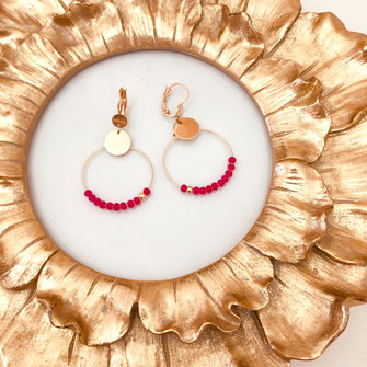 boucles d'oreilles clara gxaita fushia perles creoles anneaux