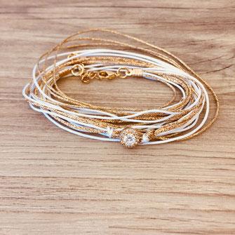 bracelet gwapita fin bijoux France creation finesse perles doré plaqué or  blanc doré Adèle