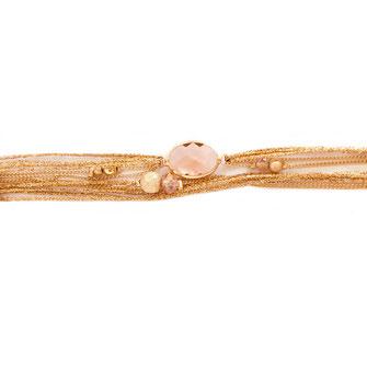 bracelet gwapita fin bijoux France creation finesse perles doré plaqué or  Jules rubans multirangs rose poudré oval pierre sertie perles