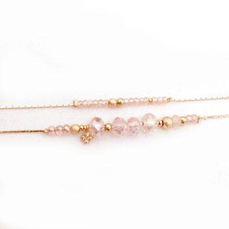 bracelet gwapita fin bijoux France creation finesse perles doré plaqué or  rose poudré