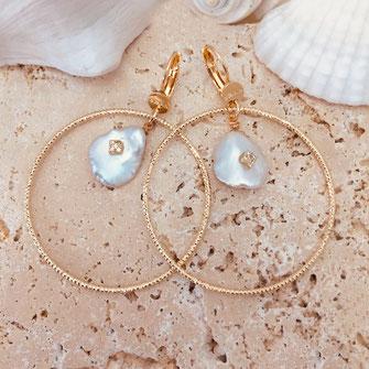 gwapita boucles d'oreilles bijoux création doré  keshi perles d'eau douce ayako nature naturelle earrings or