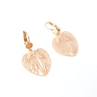 boucles d'oreilles Monica dentelle feuille coeur doré fin création créateur femme bijoux gwapita