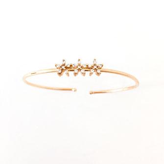 jonc bracelet gwapita fin doré vintage zirconium  pierre blanche jewelry gwapita fleurs