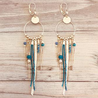 SAMBA boucles d'oreilles verte doré gwapita créatrice creation longues belles earrings design