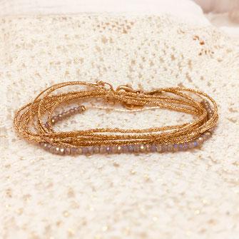 bracelet gwapita bijoux Léo leo ruban doré perles