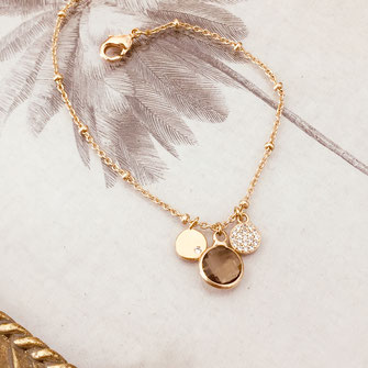 bracelet doré plaqué or fin Gwapita bijoux créatrice française france pyrite brun pierre Igor