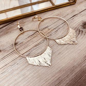 boucles d'oreilles gwapita doré plaqué or creatrice ronde  Jane frange