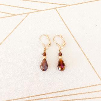 boucles d'oreilles doré gwapita bijoux fins création créatrice france goutte perles rouge bordeaux marsala