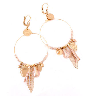 gipsy gwapita boucles d'oreilles earrings grosses belles créateurs perles pampilles breloques chic fin raffiné doré rose couleurs plume pompon