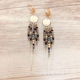 boucles d'oreilles earring gwapita bijoux français france createur fin doré plaqué or perles  diva