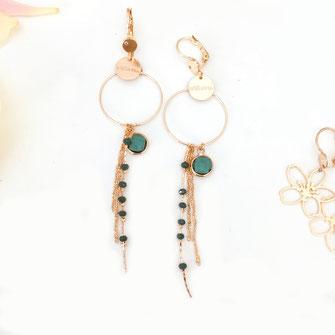 gwapita boucles d'oreilles bijoux création doré  clyde vert pierre perles or