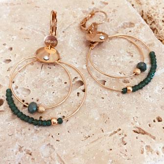 gwapita mini colivia anneaux double deux créoles champagne new boucles d'oreilles doré gold vert  creoles perles