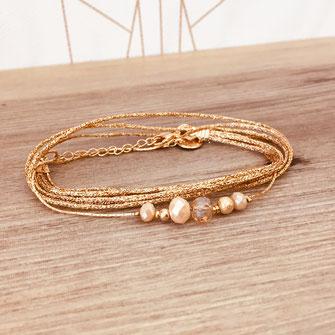 bracelet doré plaqué or fin Gwapita bijoux créatrice française france  beige nude perles fin