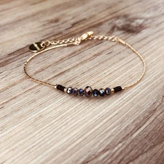 bracelet doré plaqué or fin Gwwapita bijoux créatrice française france noir perles