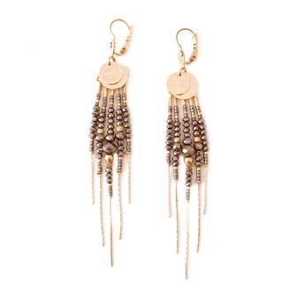 boucles d'oreilles gwapita belle grosse longues createur créatrice perles doré plaqué or bijoux earrings nude longues perles chaines grid foncé