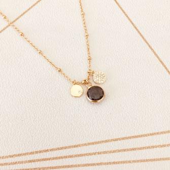 collier choker necklace gwapita bijoux français france createur fin doré plaqué or bleu pierre sertie