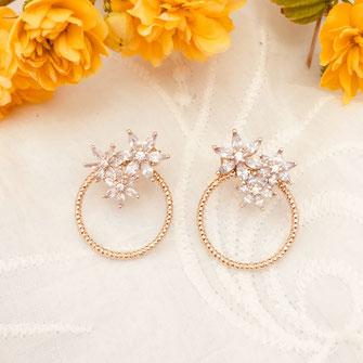 boucles d'oreilles fleurs doré fine raffiné gwapita wapita new bijoux Josephine creole anneau petite plaqué or doré gold