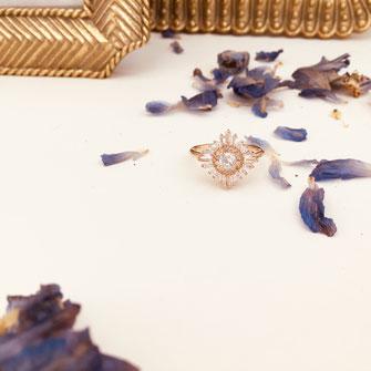 bague gwapita oxyde de zirconium fiançailles blanc brillant diamants doré or