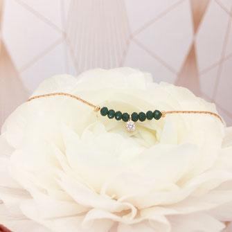 gwapita bijoux melchior bracelet vert perle brillant diamant