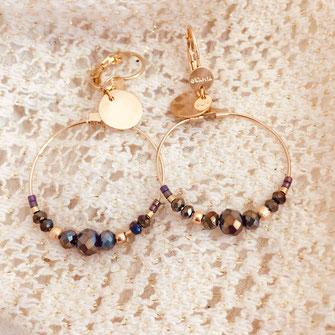 gwapita mini chloé champagne new boucles d'oreilles doré gold  creoles perles metalic mordoré