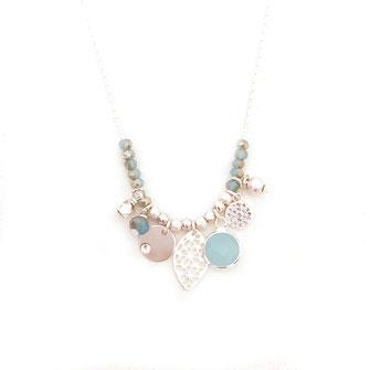 collier gwapita bijoux bleu turquoise argent argenté perles breloques pampilles france